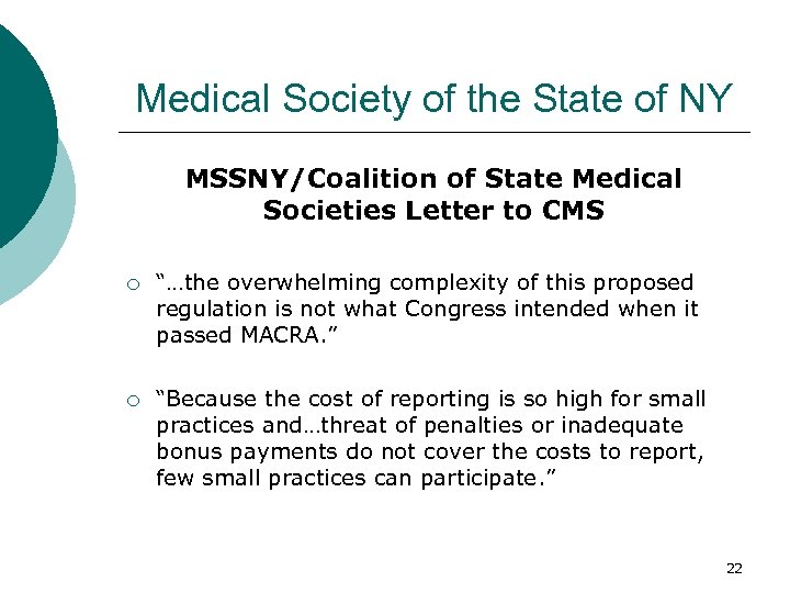 Medical Society of the State of NY MSSNY/Coalition of State Medical Societies Letter to