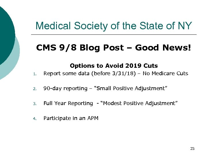 Medical Society of the State of NY CMS 9/8 Blog Post – Good News!