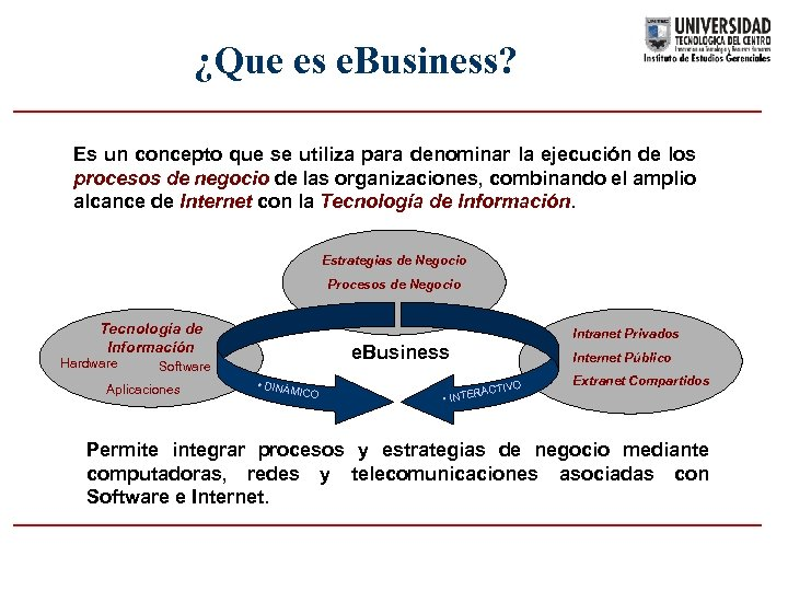¿Que es e. Business? Es un concepto que se utiliza para denominar la ejecución