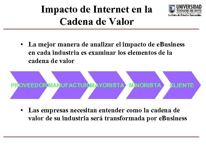 Impacto de Internet en la Cadena de Valor • La mejor manera de analizar