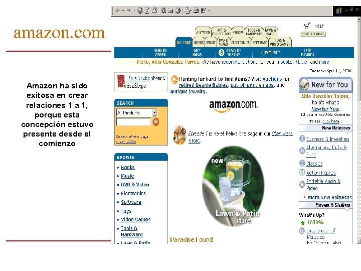 amazon. com Amazon ha sido exitosa en crear relaciones 1 a 1, porque esta