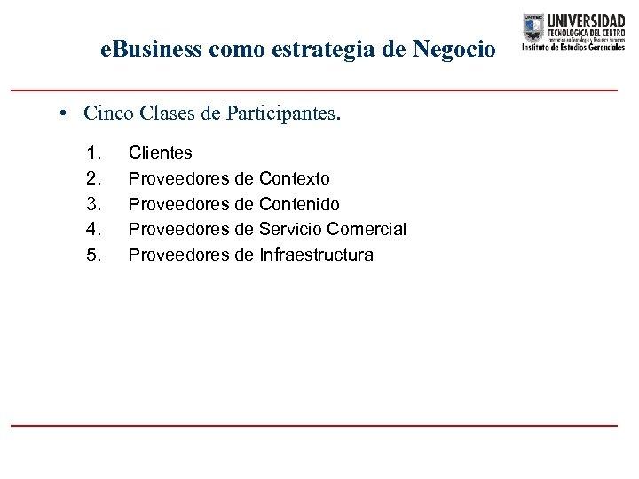 e. Business como estrategia de Negocio • Cinco Clases de Participantes. 1. 2. 3.