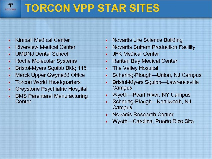 TORCON VPP STAR SITES 4 4 4 4 4 Kimball Medical Center Riverview Medical