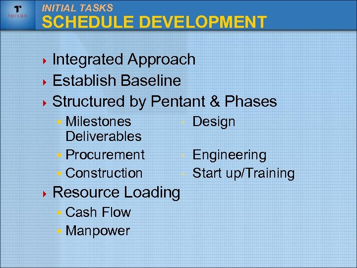 INITIAL TASKS SCHEDULE DEVELOPMENT 4 Integrated Approach 4 Establish Baseline 4 Structured by Pentant