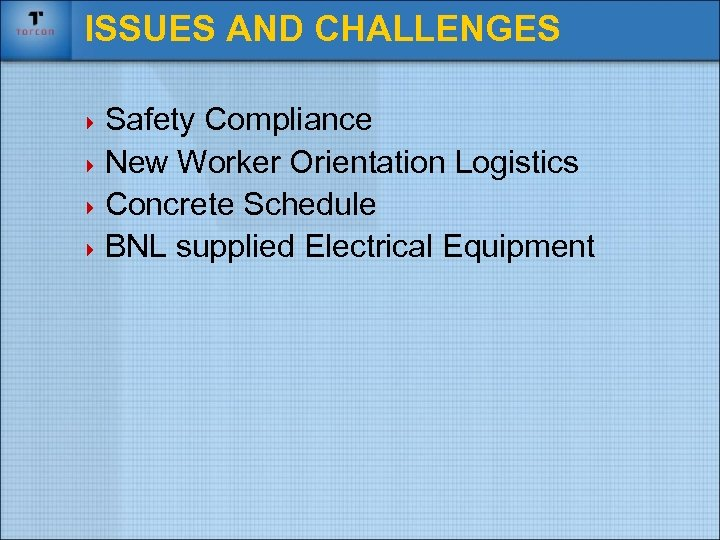 ISSUES AND CHALLENGES 4 Safety Compliance 4 New Worker Orientation Logistics 4 Concrete Schedule