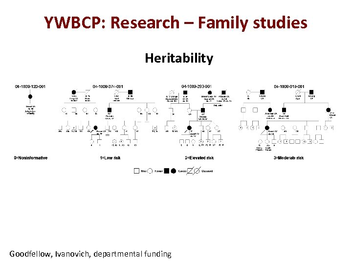 YWBCP: Research – Family studies Heritability Goodfellow, Ivanovich, departmental funding