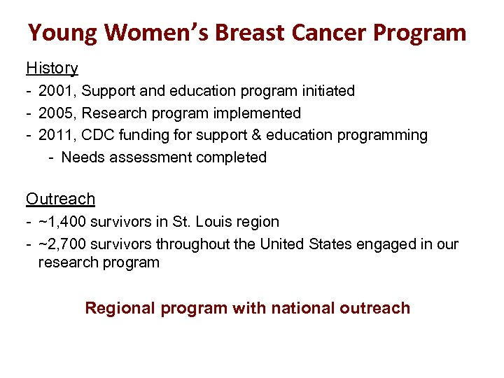 Young Women's Breast Cancer Program History - 2001, Support and education program initiated -