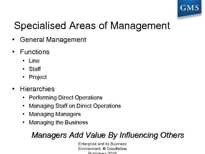 Specialised Areas of Management • General Management • Functions • Line • Staff •