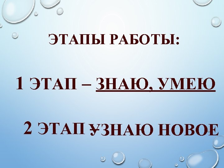 ЭТАПЫ РАБОТЫ: 1 ЭТАП – ЗНАЮ, УМЕЮ 2 ЭТАП УЗНАЮ НОВОЕ –