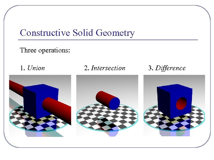 Constructive Solid Geometry Three operations: 1. Union 2. Intersection 3. Difference