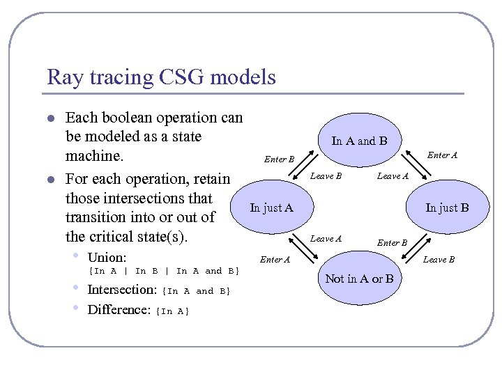 Ray tracing CSG models l l Each boolean operation can be modeled as a
