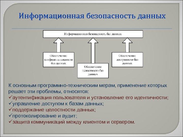 Информационная безопасность данных К основным программно-техническим мерам, применение которых решает эти проблемы, относятся: üаутентификация