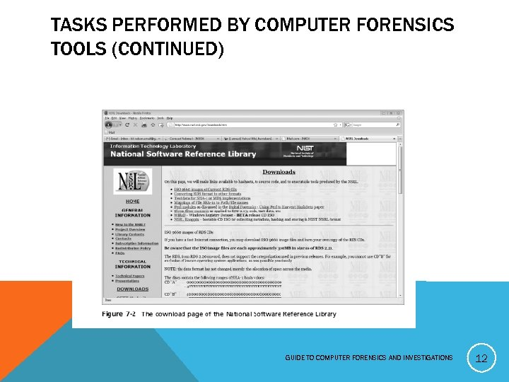 TASKS PERFORMED BY COMPUTER FORENSICS TOOLS (CONTINUED) GUIDE TO COMPUTER FORENSICS AND INVESTIGATIONS 12