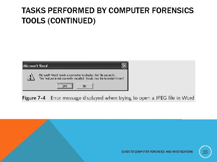 TASKS PERFORMED BY COMPUTER FORENSICS TOOLS (CONTINUED) GUIDE TO COMPUTER FORENSICS AND INVESTIGATIONS 15