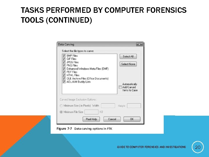 TASKS PERFORMED BY COMPUTER FORENSICS TOOLS (CONTINUED) GUIDE TO COMPUTER FORENSICS AND INVESTIGATIONS 20