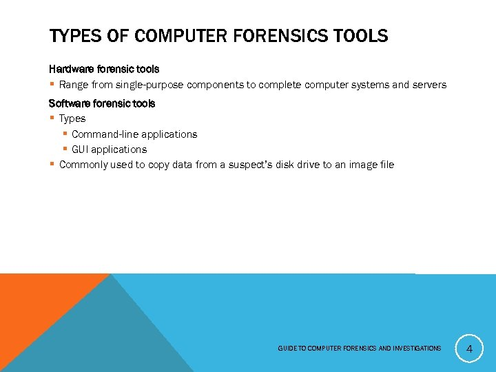 TYPES OF COMPUTER FORENSICS TOOLS Hardware forensic tools § Range from single-purpose components to