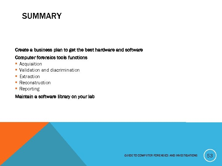 SUMMARY Create a business plan to get the best hardware and software Computer forensics