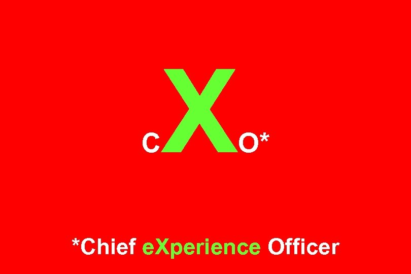 C X O* *Chief e. Xperience Officer