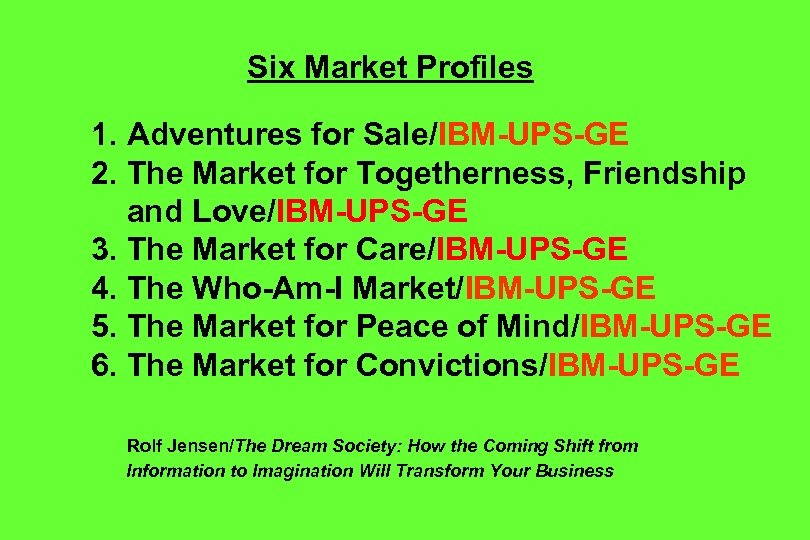 Six Market Profiles 1. Adventures for Sale/IBM-UPS-GE 2. The Market for Togetherness, Friendship and