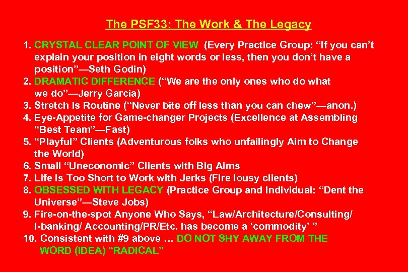 The PSF 33: The Work & The Legacy 1. CRYSTAL CLEAR POINT OF VIEW