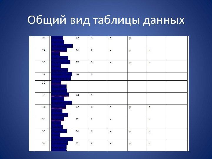 Общий вид таблицы данных