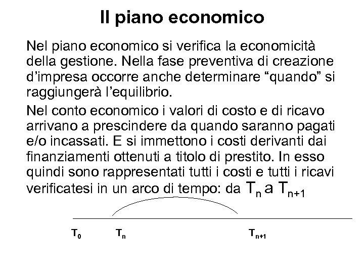 Il piano economico Nel piano economico si verifica la economicità della gestione. Nella fase