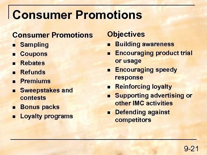 Consumer Promotions n n n n Sampling Coupons Rebates Refunds Premiums Sweepstakes and contests
