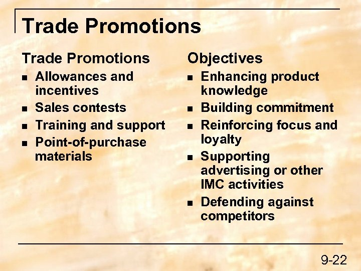 Trade Promotions n n Allowances and incentives Sales contests Training and support Point-of-purchase materials
