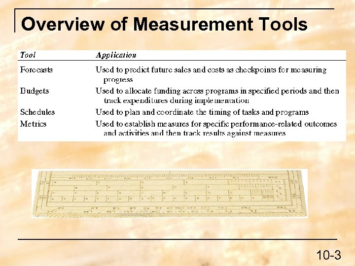 Overview of Measurement Tools 10 -3