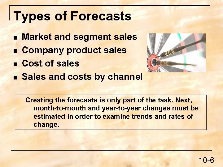 Types of Forecasts n n Market and segment sales Company product sales Cost of