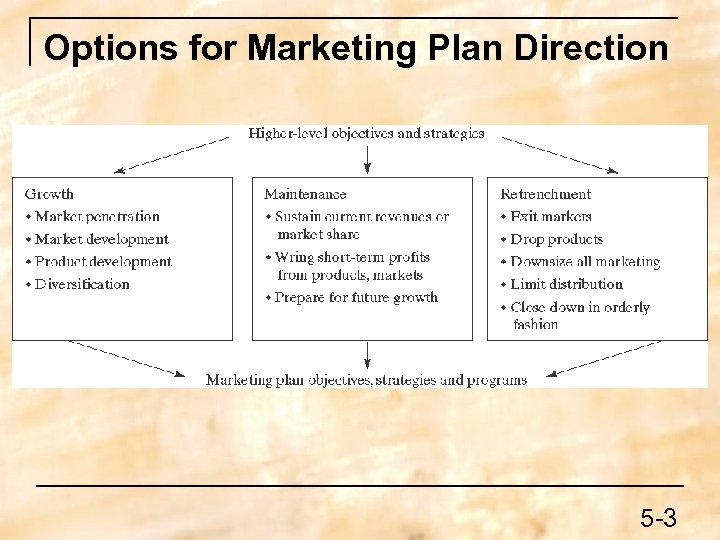 Options for Marketing Plan Direction 5 -3