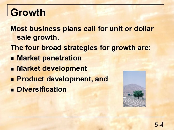 Growth Most business plans call for unit or dollar sale growth. The four broad