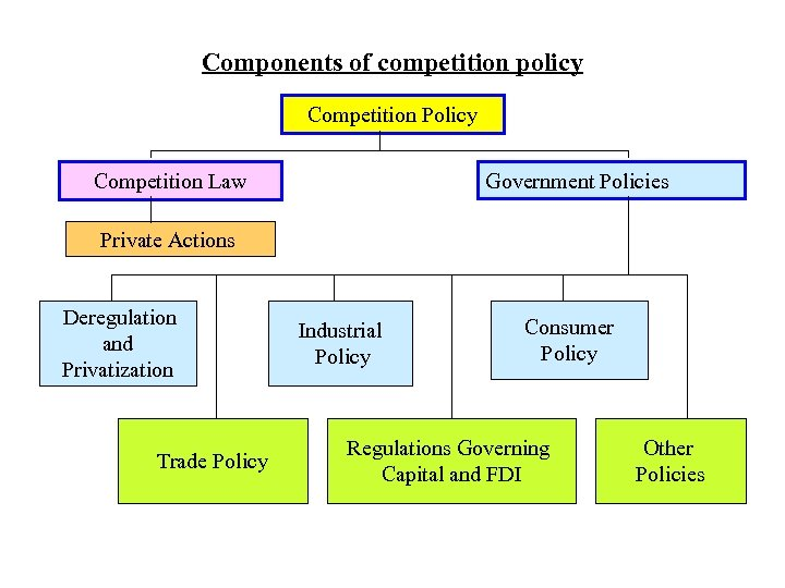 Components of competition policy Competition Policy Competition Law Government Policies Private Actions Deregulation and