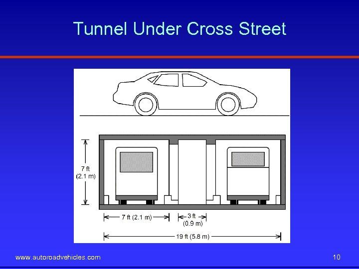 Tunnel Under Cross Street www. autoroadvehicles. com 10