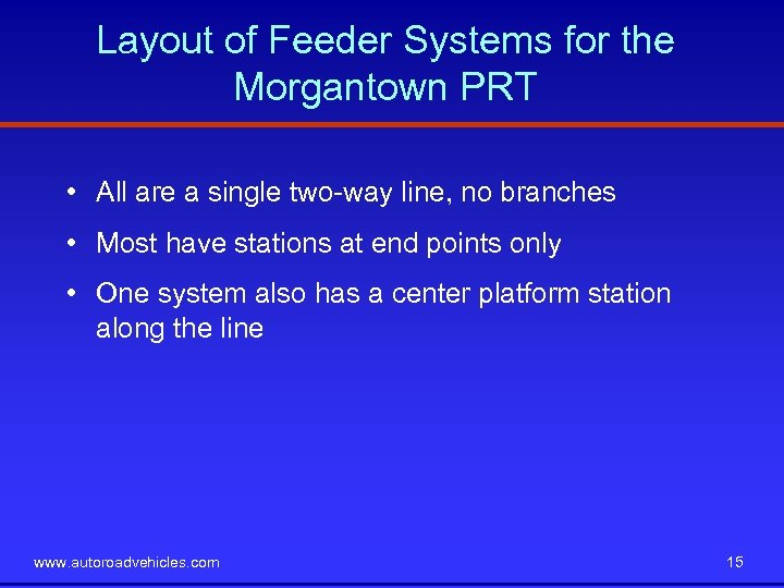 Layout of Feeder Systems for the Morgantown PRT • All are a single two-way