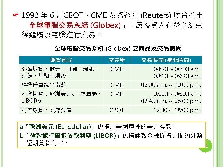1992 年 6 月CBOT、CME 及路透社 (Reuters) 聯合推出 「全球電腦交易系統 (Globex)」,讓投資人在營業結束 後繼續以電腦進行交易。 全球電腦交易系統 (Globex) 之商品及交易時間