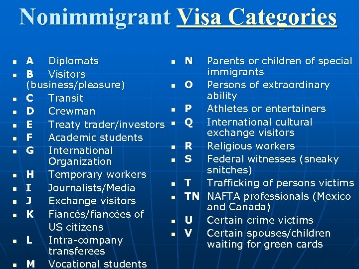 Nonimmigrant Visa Categories n n n n A Diplomats B Visitors (business/pleasure) C Transit