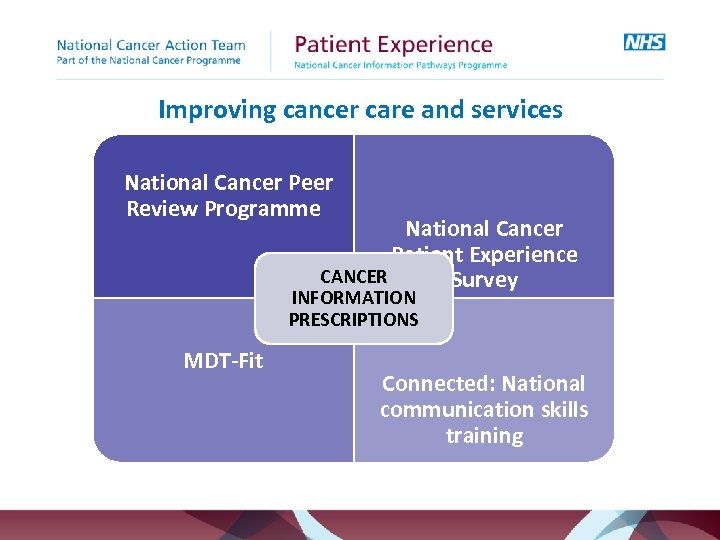 Improving cancer care and services National Cancer Peer Review Programme National Cancer Patient Experience