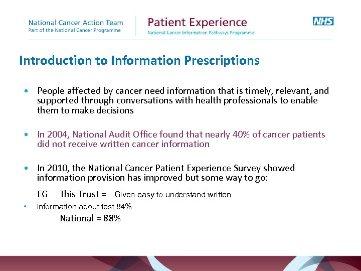 Introduction to Information Prescriptions • People affected by cancer need information that is timely,