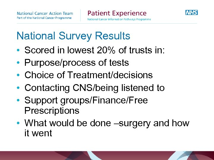 National Survey Results • • • Scored in lowest 20% of trusts in: Purpose/process