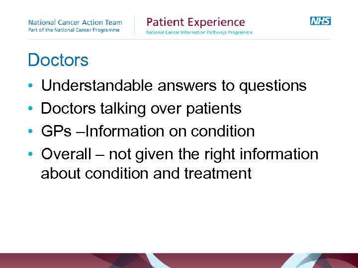Doctors • • Understandable answers to questions Doctors talking over patients GPs –Information on