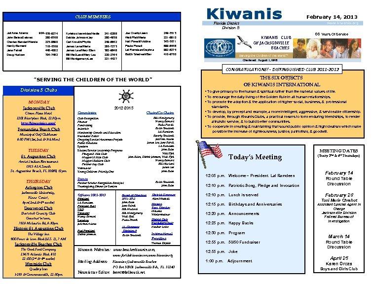 February 14, 2013 CLUB MEMBERS Florida District Division 5 Juli. Anna Adams 904 -