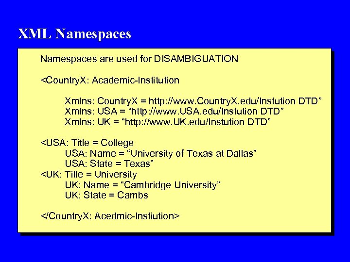 XML Namespaces are used for DISAMBIGUATION <Country. X: Academic-Institution Xmlns: Country. X = http: