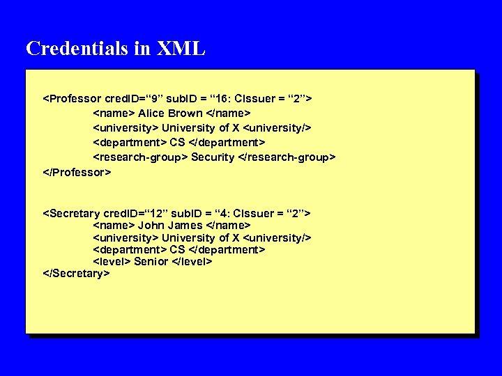 """Credentials in XML <Professor cred. ID="""" 9"""" sub. ID = """" 16: CIssuer ="""
