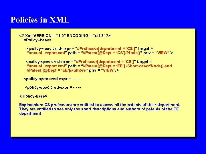 """Policies in XML <? Xml VERSION = """" 1. 0"""" ENCODING = """"utf-8""""? >"""