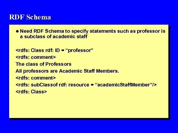 RDF Schema l Need RDF Schema to specify statements such as professor is a