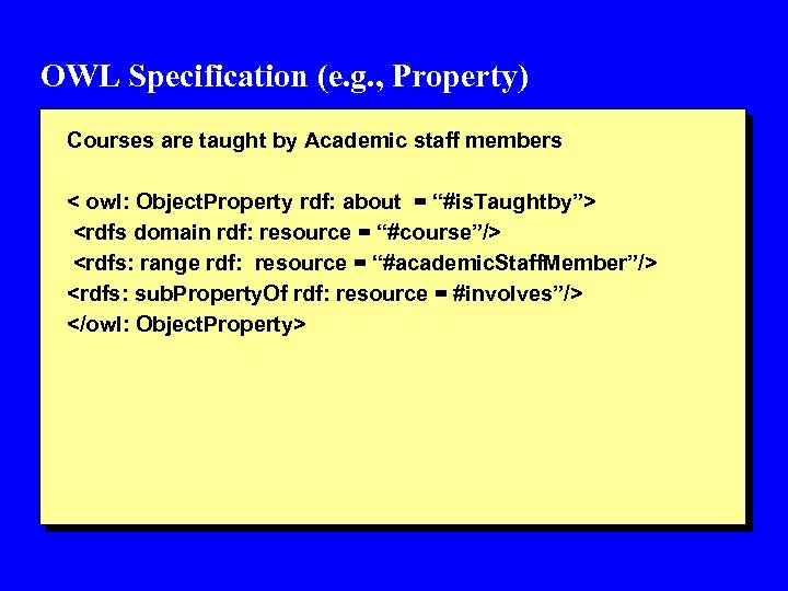 OWL Specification (e. g. , Property) Courses are taught by Academic staff members <