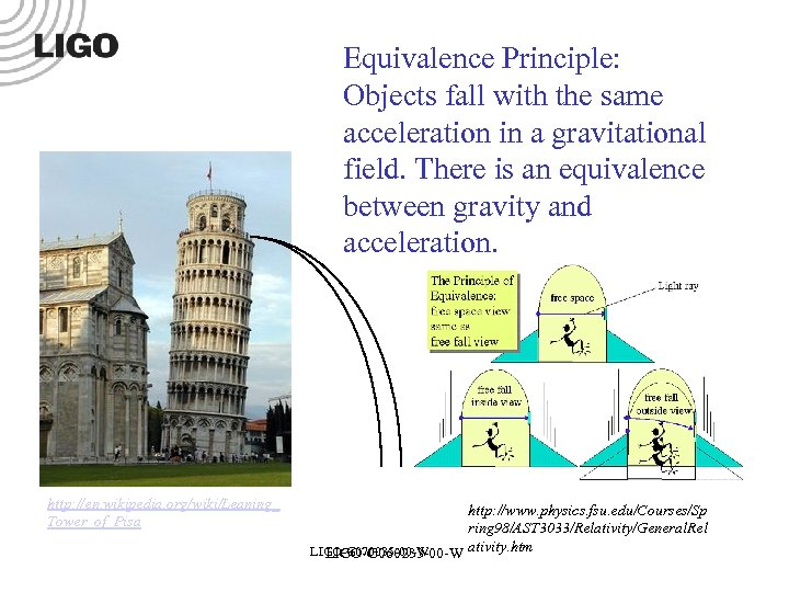 Equivalence Principle: Objects fall with the same acceleration in a gravitational field. There is