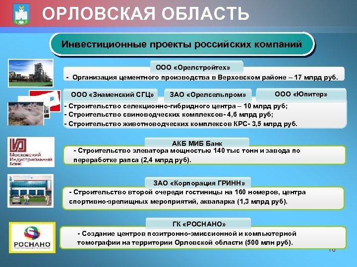 ОРЛОВСКАЯ ОБЛАСТЬ Инвестиционные проекты российских компаний ООО «Орелстройтех» - Организация цементного производства в Верховском
