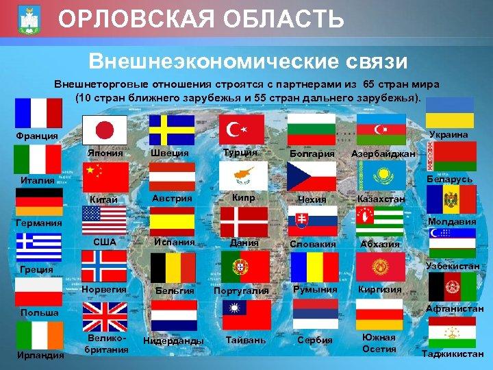 ОРЛОВСКАЯ ОБЛАСТЬ Внешнеэкономические связи Внешнеторговые отношения строятся с партнерами из 65 стран мира (10